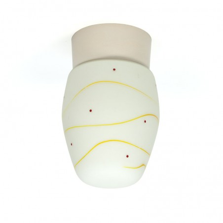 Vintage ceiling lamp from the fifties with yellow / red detail