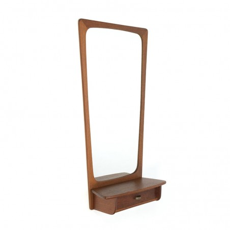 Teak vintage Danish mirror with small drawer