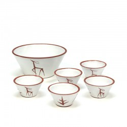 Vintage 6-piece earthenware bowls with deer