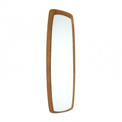 Elongated oval teak vintage mirror