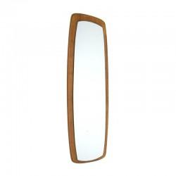 Langwerpige ovale teakhouten vintage spiegel