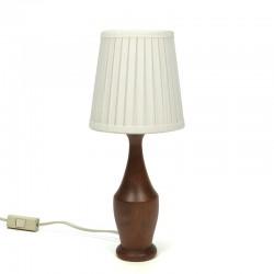 Smal model vintage tafellamp met teakhouten voet