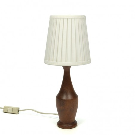 Narrow model vintage table lamp with teak base