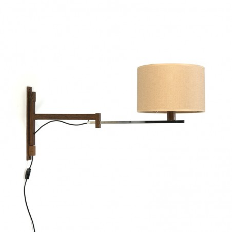 Vintage uitschuifbare wengé wandlamp met canvas kap