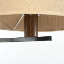 Vintage extendable wengé wall lamp with canvas shade