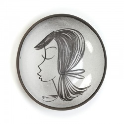 Vintage wall plate with lady 1960's