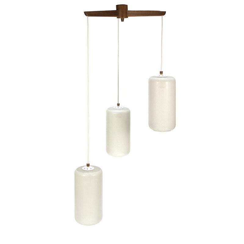 Vintage hanglamp met 3 geslepen glazen kelken