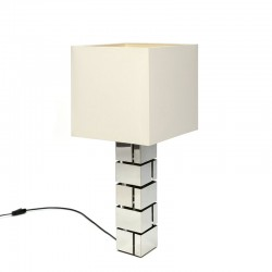 Chrome vintage cubist design table lamp
