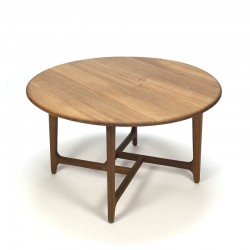 Round Danish vintage coffee table with special teak frame