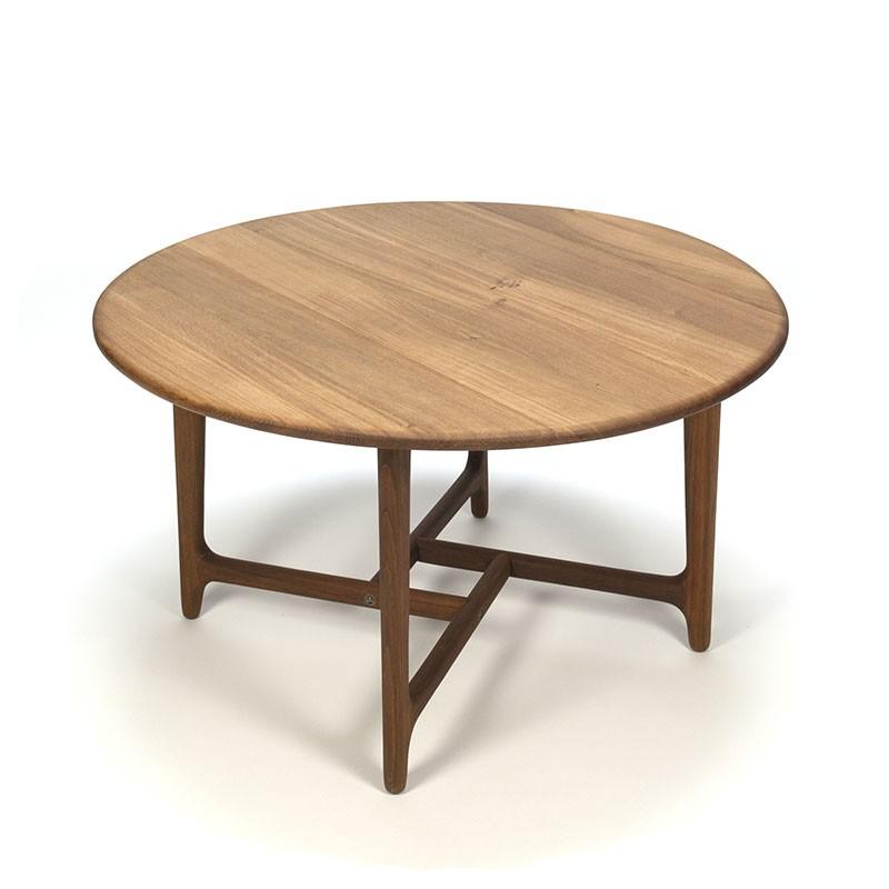Nieuw Ronde Deense vintage salontafel met speciaal teak frame - ZN-76