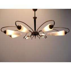 Grote 50's hanglamp met glazen kapjes