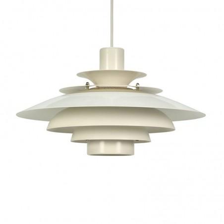 Vintage wit metalen Deense hanglamp