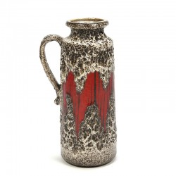 West Germany vintage vase with red accent