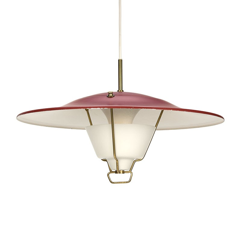 Vintage design hanging lamp red metal shade with brass and glass