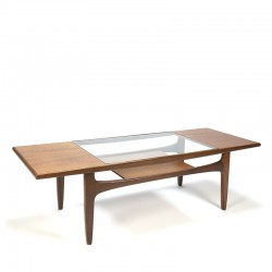 Vintage salontafel met glazen tussenblad ontwerp Victor Wilkins