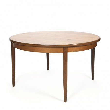 Teak vintage round extendable dining table