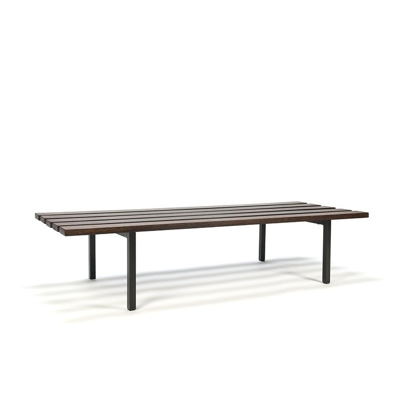 Vintage wengé wooden slat bench low model