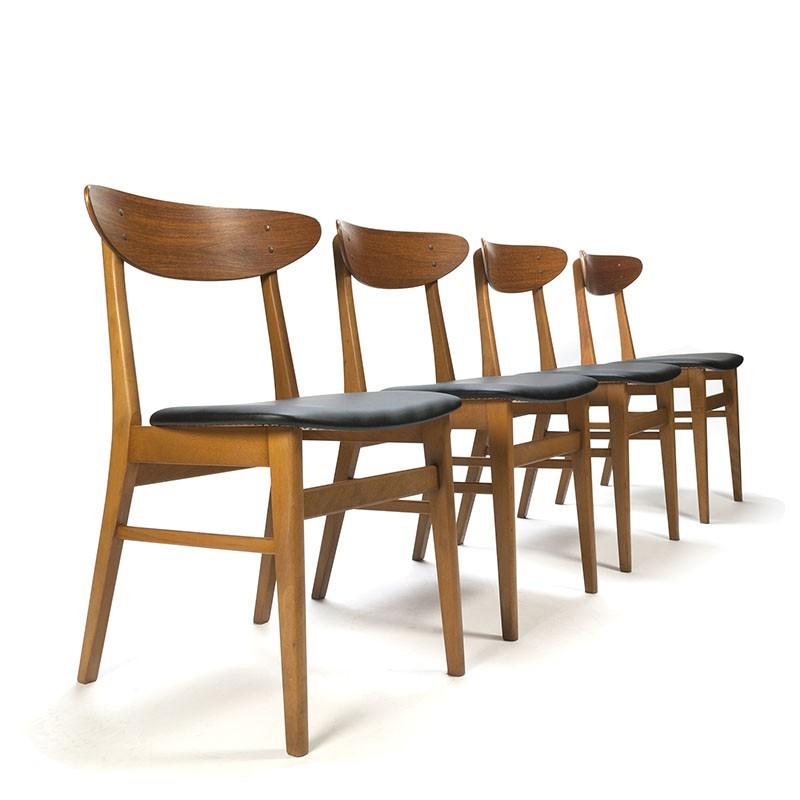 Vintage Deense Farstrup stoelen set van 4
