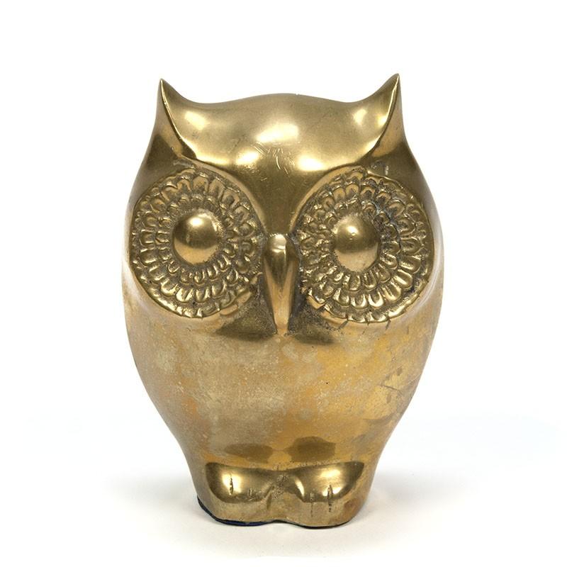 Large model vintage brass owl