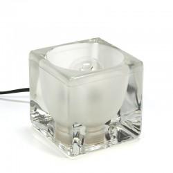 Vintage glazen blok tafellampje van Peill und Putzler
