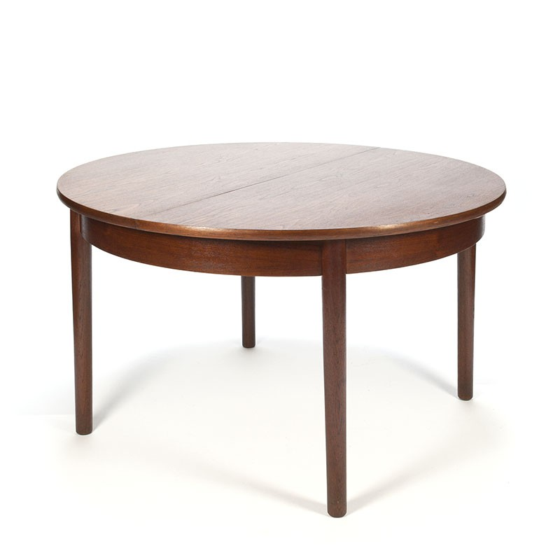 Vintage round extendable dining table in dark teak