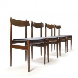 Vintage set van 4 eettafel stoelen in palissander en afrormosia