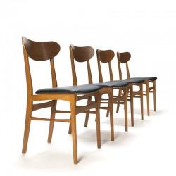 Vintage set van 4 teakhouten Deense eettafel stoelen