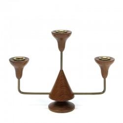 Vintage teakhouten kandelaar voor 3 kaarsen