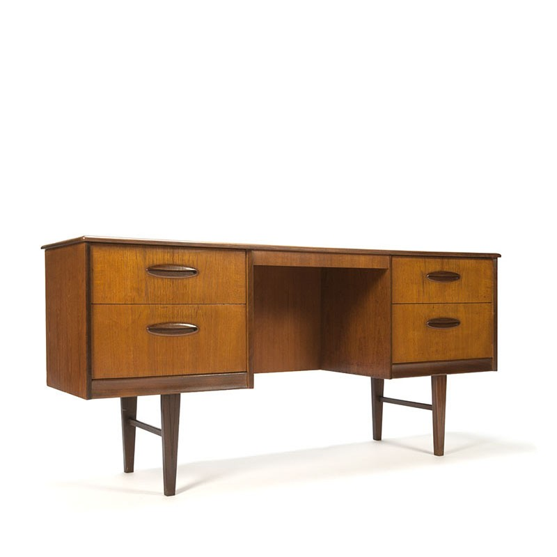 Narrow vintage desk or dressing table in teak
