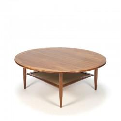 Vintage Danish round teak coffee table