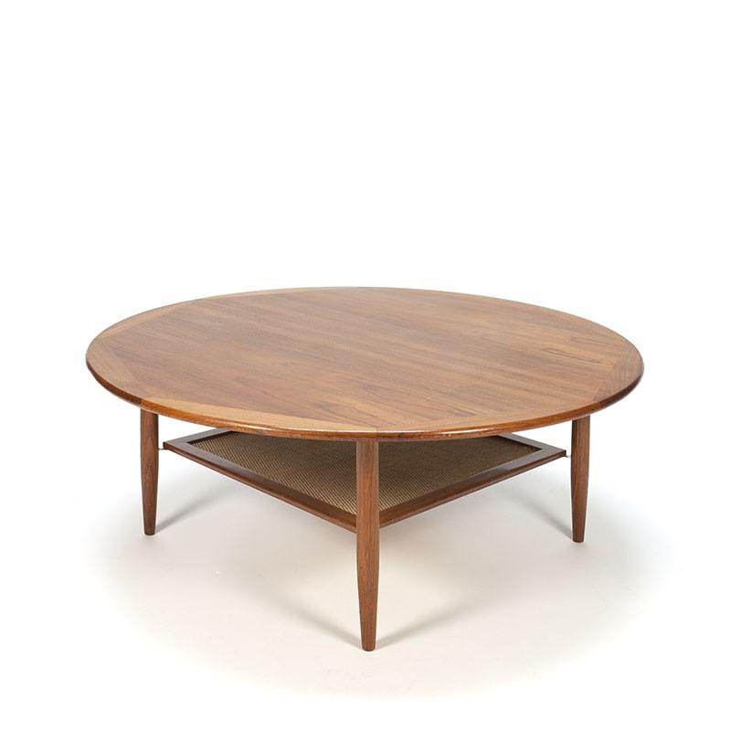 Vintage Deense ronde teakhouten salontafel