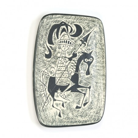 Earthenware vintage wall plate with knight
