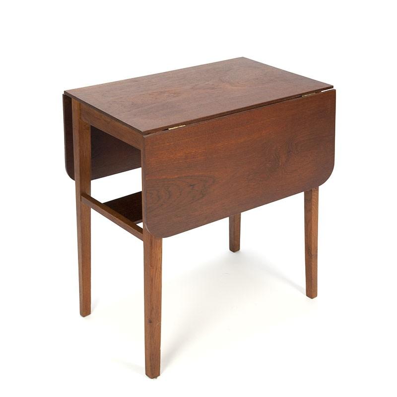 Vintage teak side table with drop-leaf