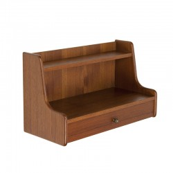 Teak vintage hanging bedside table design Omann Jun