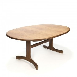 Vintage teak oval dining table extendable