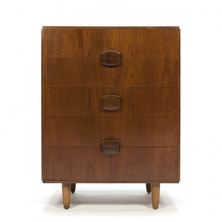 Teak vintage chest of drawers with special handle
