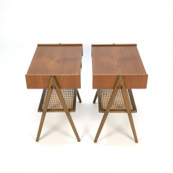 Set of two vintage bedside tables in teak and walnut wood