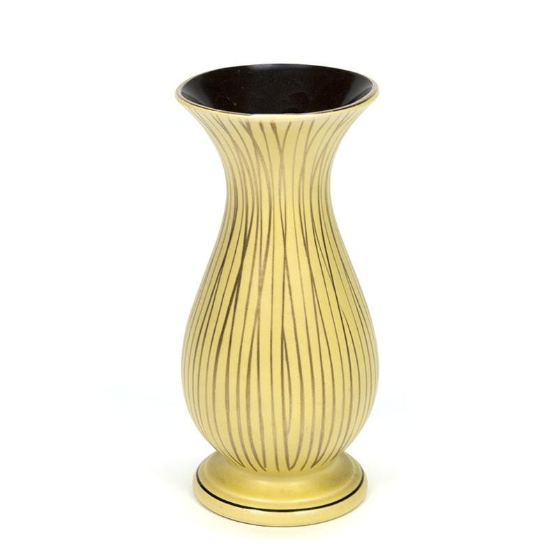 Vintage keramiek vaasje in geel en goud