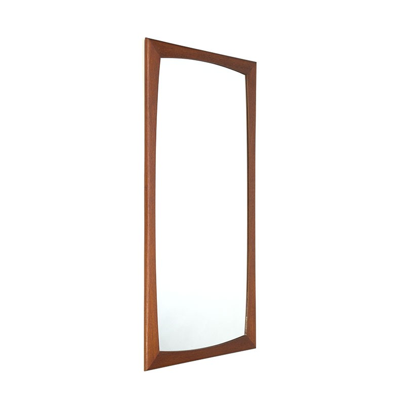 Vintage Danish mirror with a wide teak edge