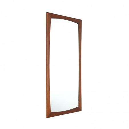Vintage Deense spiegel met brede teakhouten rand