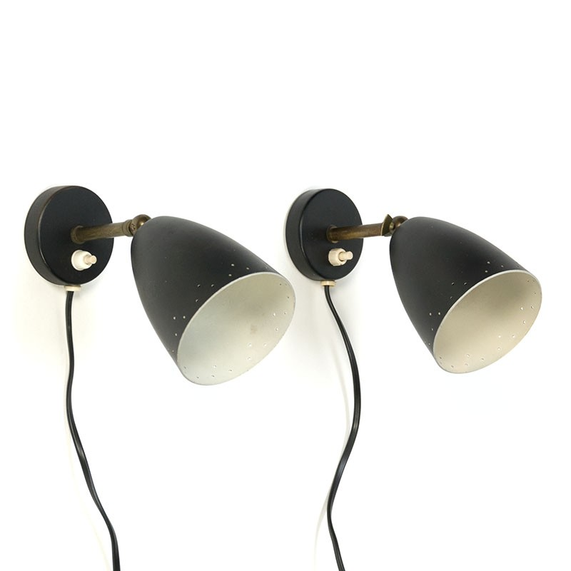 Vintage set of 2 fifties wall lights