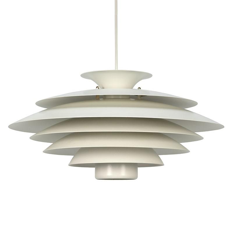 Wit metalen vintage Deense hanglamp
