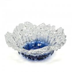 Blauw glazen vintage Scandinavische schaal