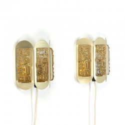 Set of 2 Vitrika wall lamps in brass and glass