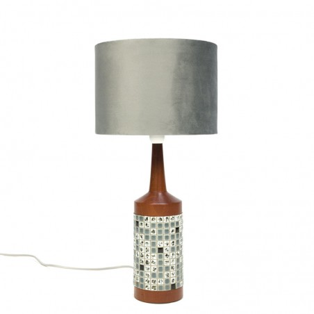 Vintage teak table lamp with mosaic design
