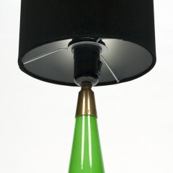 Green glass vintage table lamp