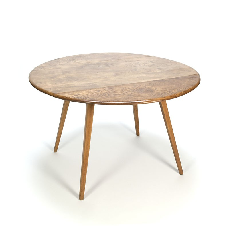 Vintage round Ercol drop leaf dining table