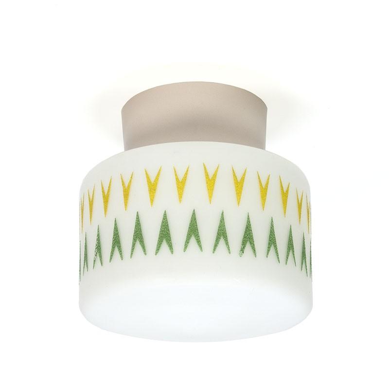 Vintage melkglazen plafondlamp met geel/ groen detail