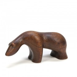 Vintage polar bear in teak from the fifties / sixties