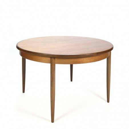 Round vintage teak extendable dining table